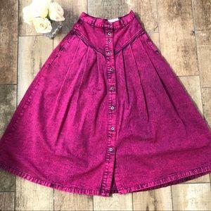 Vintage Sundance Pink Denim Button Front Skirt